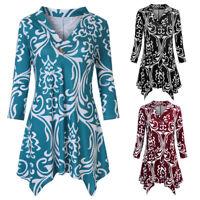 Women 3/4 Sleeve V Neck Print Asymmertrical Hem Casual Tops Tunic Blouse Shirt