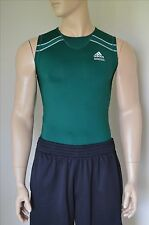 NUOVO ADIDAS TECHFIT corto senza maniche SL Base Layer Compressione Tee Shirt Green XL