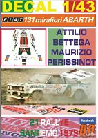 DECAL 1/43 FIAT 131 ABARTH A.BETTEGA R.SANREMO 1979 3rd (01)