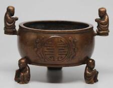 19th C. Fine Chinese Bronze Smoked Censer,