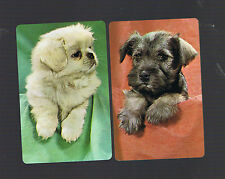 Playing Swap Cards  2   VINT  BLACK &  WHITE   PUPPY   DOGS    SO CUTE W383