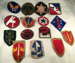 Mixed (Lot of 15) Vintage Military Patch Lot some worn. See Photos. (Lot#1)