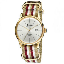 Mens Accurist Vintage stripe canvas strap watch MS433S