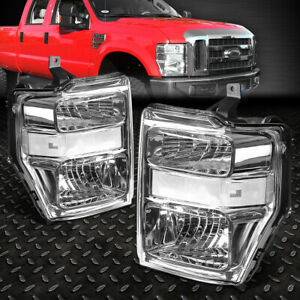 FOR 08-10 FORD F250 F350 SUPER DUTY CHROME HOUSING CLEAR CORNER HEADLIGHT LAMPS