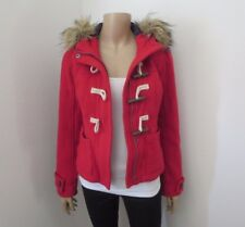 Abercrombie Womens Red Wool Parka Jacket Size XS Coat Fur Hoodie Toggle Buttons