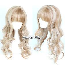 Casual Lolita Mixed Flaxen 70CM Long Curly Hair Harajuku Cosplay Wig With Bangs