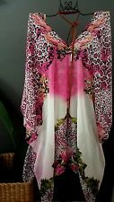 EXOTIC SILK BLEND PINK ANIMAL PRINT CAFTAN KAFTAN  RESORT LOOSE BOHO BATWING TOP