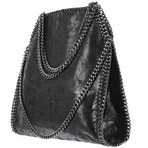 Shoulder Bag Large Shoulder Woman Black Color with Eco Leather Chains