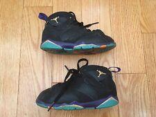 Girls Nike Air Jordan 7 Retro 705418-029 Black Purple Citrus Size 10C Toddler