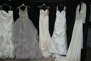 NWD Seamstress lot of 5 bridal gowns, Silk, Velvet, variety of sizes, fabrics