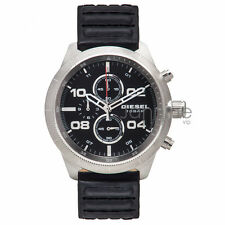 Diesel Authentic DZ4439 Men's 50mm Watch Padlock Black Leather Chronograph