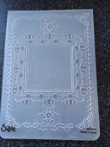 SIZZIX A6 LARGE EMBOSSING FOLDER SQUARE HOLIDAY FRAME CHRISTMAS SNOWFLAKE BORDER