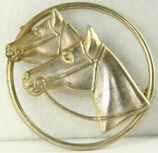 VINTAGE GOLD COLOR COSTUME DUAL TWIN HORSE PIN