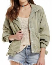 FREE PEOPLE Parachute Army Cropped JACKET Green XS Extra Small NWOT