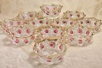 EAPG Ruby Red Stained Bullseye Daisy Newport Glass Bowl Set of 11