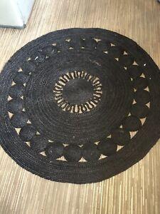 Jute Rug  Black  Bohemian  Round area floor mat carpet decor rug Large Size