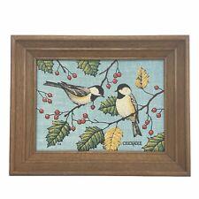 "9"" x 11"" Vtg Kay Dee Framed 100% Pure Linen Hand Print Chickadee Birds In Trees"