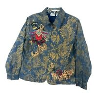 Chicos Blue Jean Denim Embroidered Zipper Front Jacket Size 2 Large Embellished