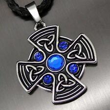 "Celtic Sapphire Blue Sun Cross Pewter Pendant Free 20"" Necklace PP#295B"