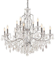 Metropolitan Lighting N8008 Crystal Collection 12-Light 2-Tier Chandelier Chrome