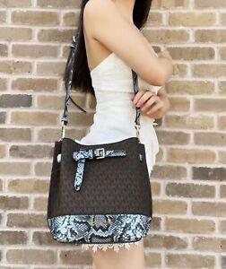 Michael Kors Emilia Small Drawstring Bucket Bag Brown MK Logo Blue Python Snake