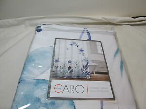 """New Caro Home FLORAL Fabric Shower Curtain 72""""x72"""" ~ Blue, Navy, Green Flowers"""
