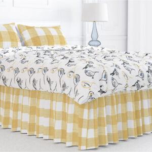 Carolina Linens Gathered Bedskirt in Anderson Brazilian Yellow Buffalo Check