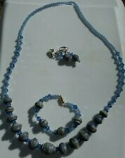Handmade Necklace, Bracelet and Earring set with Blue/Light/Grey Lampwork Beads