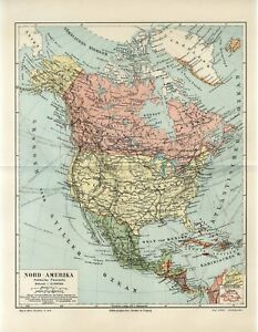 1906 NORTH AMERICA POLITICAL MAP USA CANADA MEXICO GREENLAND Antique Map dated