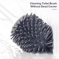 Wall Mount Toilet Bowl Brush And Holder Set Silicone Bristle Bathroom Cleaning