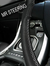 FOR PEUGEOT 505 1979-1992 BLACK LEATHER STEERING WHEEL COVER GREY DOUBLE STITCH