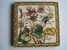 ANTIQUE VICTORIAN PRINT AND TINT WALL TILE - PINK FLOWERS PATTERN No.46 c1895