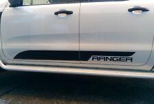 Ford Ranger MATTE BLACK Side Doors And Bonnet Sticker Set PRE 2014 model