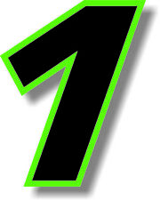 Black 3 inch race number with Green border number 1 vinyl decal sticker number 1