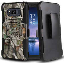 AUTUMN CAMO TREE REAL WOODS CASE BELT CLIP HOLSTER FOR SAMSUNG GALAXY S8 ACTIVE