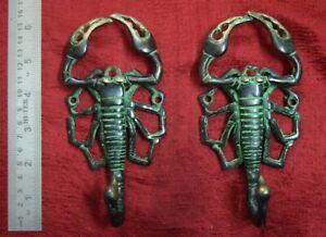 Scorpion Figurine Antique Wall Decorative Hook Pair Brass Hand Made Gift VR302