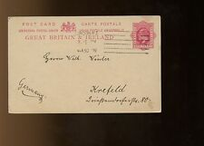 GB KEVII Postal Card 1909 London to Krefeld, Germany with message in German