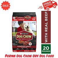 Purina Dog Chow Dry Dog Food, Complete  With Real Beef, 20 lb. Bag