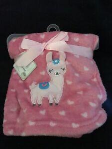 Le Bebe Pink Hearts Llama Baby Favorite Blanket Girl Soft Plush Fleece Security
