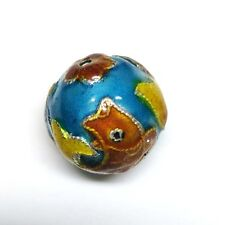 Vintage Old Exquisite Chinese Golden Fish Enamel Cloisonne Bead 1970s #Z27