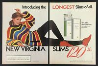 1985 Virginia Slims Lights Cigarettes Introducing 120s Slims Vintage Print Ad