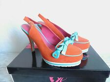 schicke Schuhe,HighHeels,Ladystar by Daniela Katzenberger orange-türkis,Gr.38