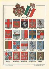 A6394 Italia - Stemmi di alcuni Capoluoghi - Stampa del 1928 - Cromolitografia