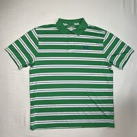 Under Armour Heat Gear Mens XL Polo Golf Shirt Green White Blue Striped Loose
