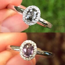 Natural Alexandrite Diamond Ring 0.47ct Halo Certified 14K White Gold NEW Sz 7