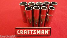 "CRAFTSMAN Socket Set 1/2"" drive MM Metric 6pt Deep 9pcs LASER ETCHED"