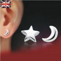 925 Sterling Silver Ear Stud Earrings Moon  and Star Stud Earrings