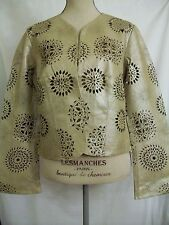 AB Lambdin Women's Laser Cut Leather Jacket - Size L - NWT