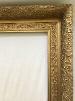 Antique Victorian Wood Gold Gilt Gesso Fine Art Painting Country Picture Frame