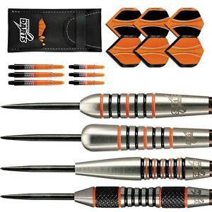 Solarfox Tungsten Darts Set 22g - 30g grams Black Orange Ringed Torpedo Bomb